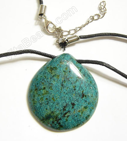 Semi Stone Almond Shape Necklace - Chrysocolla Jasper