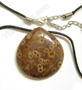 Semi Stone Almond Shape Necklace - Turtle Jasper