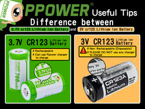 Useful tips: difference between 3.7V cr123 Lithium Ion Battery and 3V cr123 Lithium Ion Battery