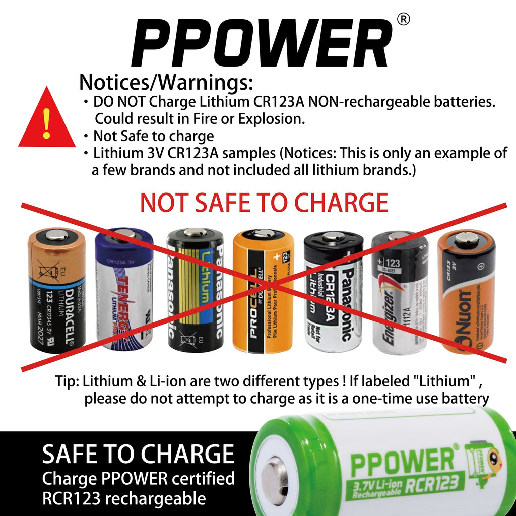 Warnings of using 3V CR123 batteries