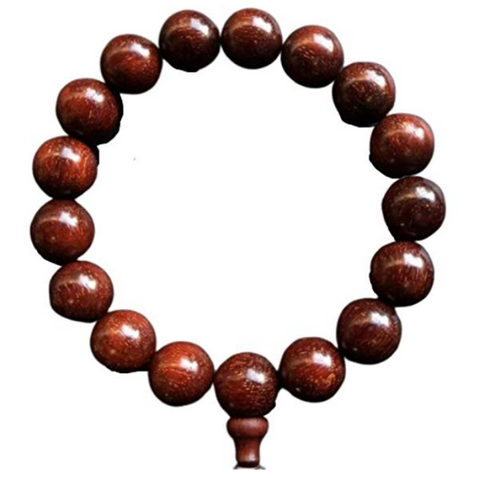 QZOXX Mantra - Man Woman Tibetan Buddhist 15mm Red Sandalwood Beads Fo Kwan-yin Mala Meditation Wrist Bracelet Yoga Bracelet