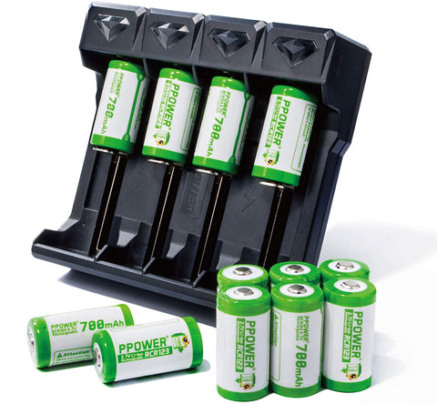 PPOWER RCR123A Arlo Rechargeable Batteries, 3.7v 700mAh Li-ion CR123A Battery with 4 -Slot Battery Charger (Z4)