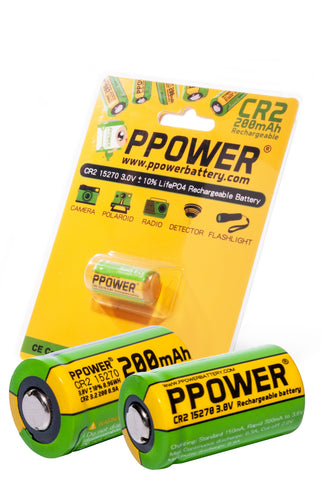 PPOWER CR2 Charger for CR2 15270 15266 Rechargeable LiFePO4 Batteries