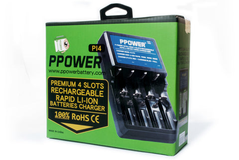 PPOWER- Premium 4 slots Rechargeable Rapid Li-ion Batteries Charger (PI4) CE Certified