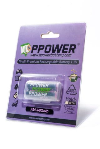 PPOWER Professional 1000mAh Pre-Charged AAA Ni-MH Rechargeable Batteries