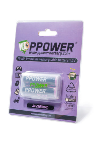 PPOWER Professional 2500mAh Pre-Charged AA Ni-MH Rechargeable Batteries