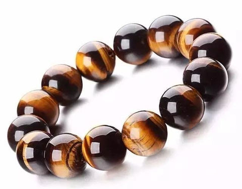 Qzoxx Mantra - Man Woman Tibetan Buddhist A Grade 18mm Tiger eye Beads Fo Kwan-yin Mala Bracelet(18mm)
