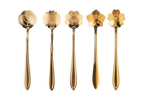 Stainless Steel Tableware Creative Flower Coffee Spoon,Spoon for Cake, Dessert Set of 5, Gold color