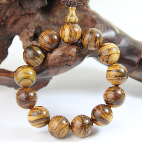 Qzoxx Mantra - Tibetan Buddhist 20mm India Tiger Tree Beads Meditation Wrist Bracelet (20mm)