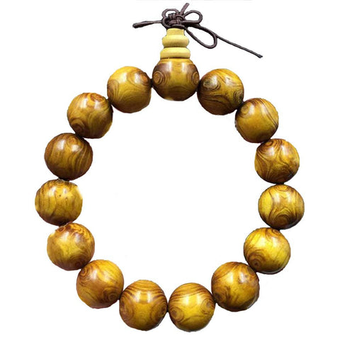Qzoxx Mantra - Man Woman Tibetan Buddhist 15mm Teak Wood Beads Fo Kwan-yin Mala Bracelet(15mm)