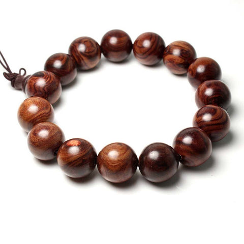Qzoxx Mantra - Man Woman Tibetan Buddhist 15mm Red Sandalwood Willow Beads Fo Kwan-yin Bracelet(15mm)