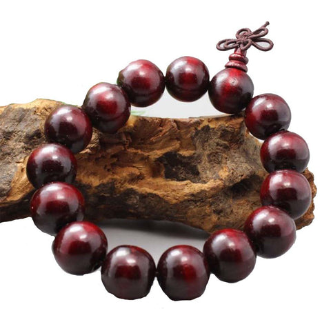 Qzoxx Mantra - Man Woman Tibetan Buddhist 15mm Red Sandalwood Beads Fo Kwan-yin Bracelet(15mm)