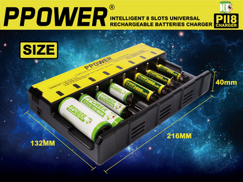 Ppower Intelligent 8 Slots Battery Charger (PII8)