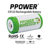 PPOWER- 700mAh 3.7v Cr123a RCR123 Li-ion Rechargeable Battery + 4 Slots Li-ion charger CE/IEC62133 Certified