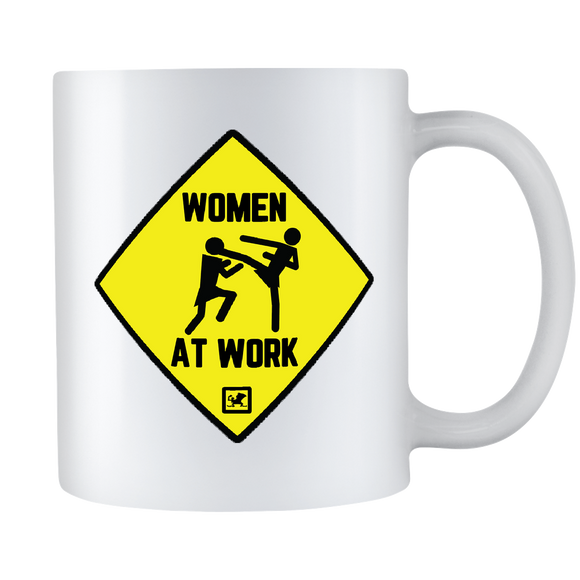 Women in combat sports 11oz white mug.