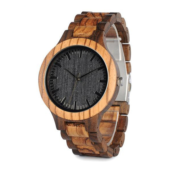 BOBO BIRD Round Vintage Zebra Wood Case Men's Watch.