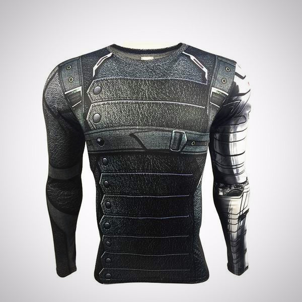 3D Winter Soldier Avengers 3 Compression Shirt Men front.
