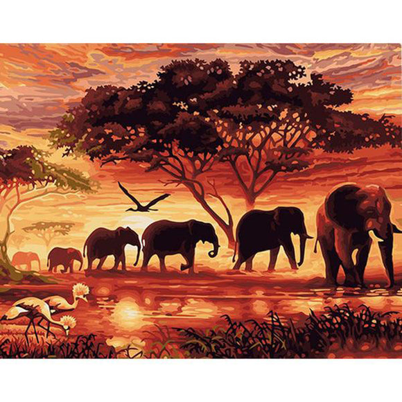 African Sunset Elephants Landscape Painting By Numbers.