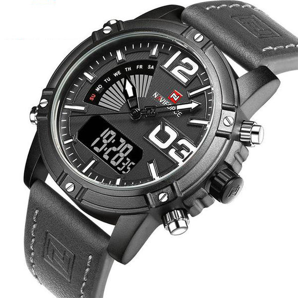 Led Men's Military Sports Wrist Watch by Naviforce white.