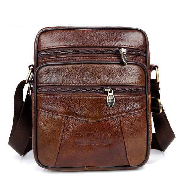 Genuine Cow Leather Men's Messenger Bag by QBL.
