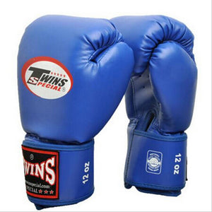 Blue leather boxing gloves.