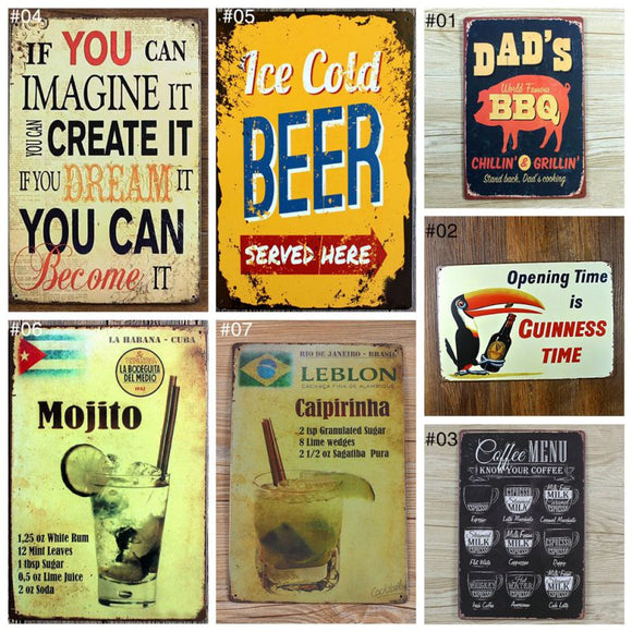 Vintage Retro Metal Bar Poster Signs for Home or Pub.