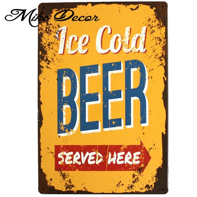 Ice cold beer Retro Metal Bar sign.