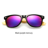 Black purple Men's Vintage Pilot Bamboo Sunglasses.