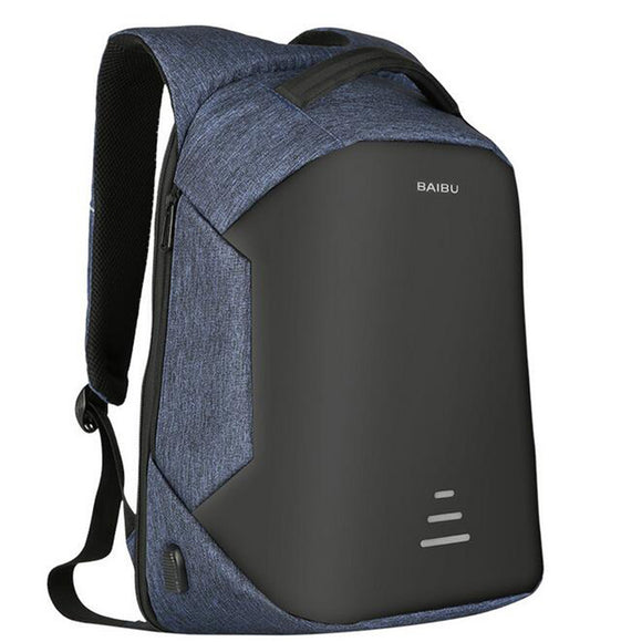 Anti-theft Urban Backpack with USB Charge for Laptop blue.
