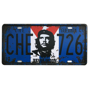 Che Guevara, Ali, Hendrix Metal Car License Plate Vintage Signs