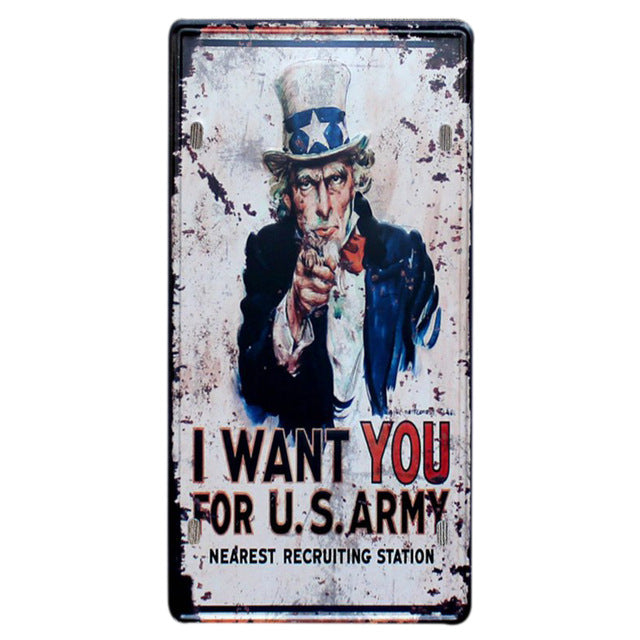 Uncle Sam retro metal sign.