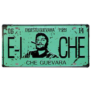 Che green metal plate sign.