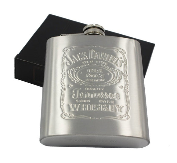 Portable 7oz Stainless Steel Jack Daniels hip flask in Gift Box.