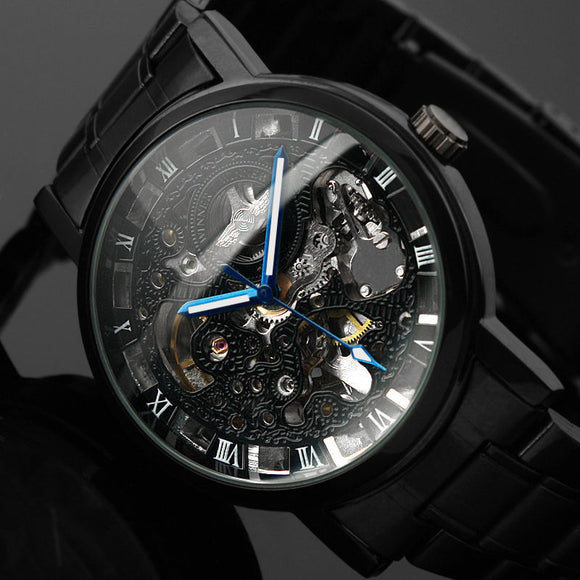 Men's Skeleton Wrist Watch in Black Stainless Steel.