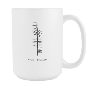 Ancient Irish Strength Mug in Ogham Text.