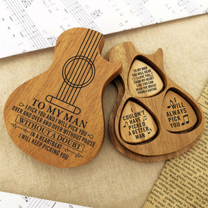 Wooden Guitar Pick 3 Pcs - To My Man I Pick You