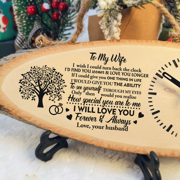 To My Wife - Never Forget That We Love You - Wood Clock