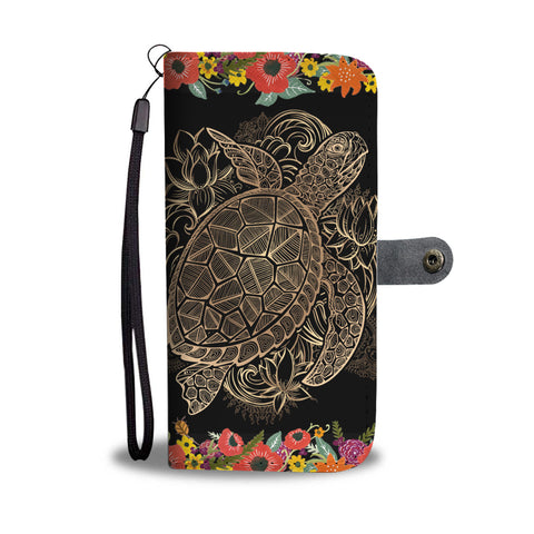 Gold Turtle and Flowers Wallet Phone Case