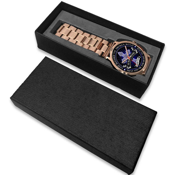 To My Husband - God Blessed The Broken Road - Rose Gold Watch