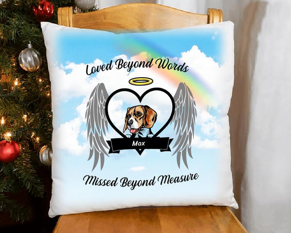 Loved Beyond  Words - Dog Memorial Personalized Pillow