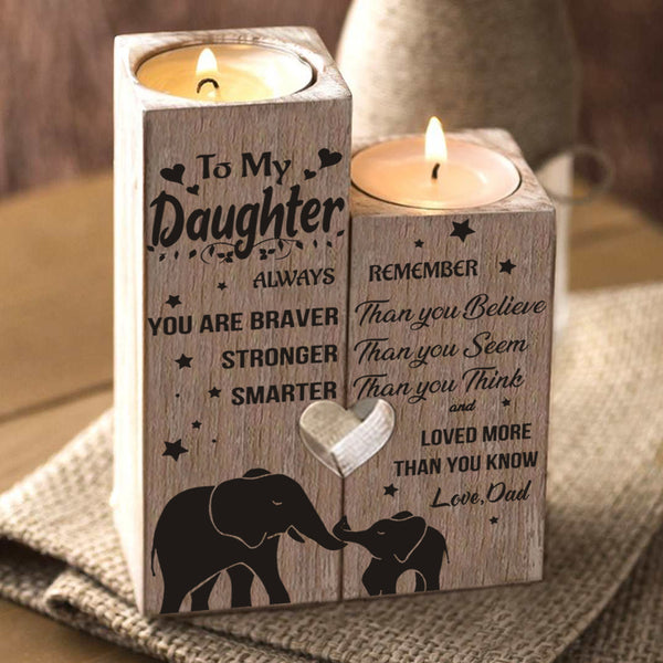 Dad to Daughter - You Are Loved More Than You Know - Engraved Candle Holder