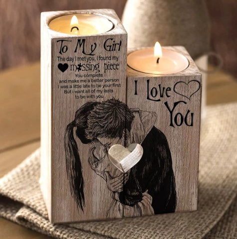 To My Girl You're My Missing Piece Engraved Candle Holder