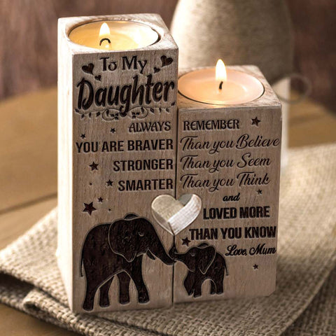 Mum to Daughter - You Are Loved More Than You Know - Engraved Candle Holder