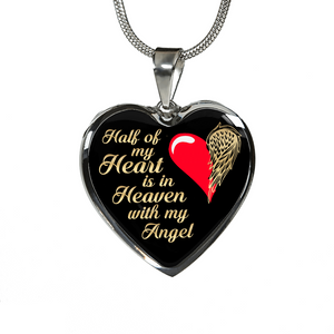Half of My Heart is in Heaven (Gold Black) Necklace