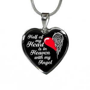 Half of My Heart is in Heaven (Black BG) Necklace