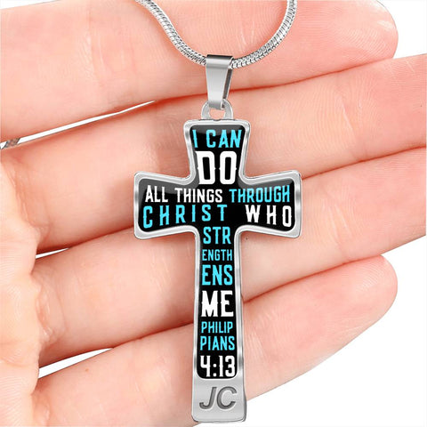 I Can Do All Things Through Christ Cross Shaped Necklace