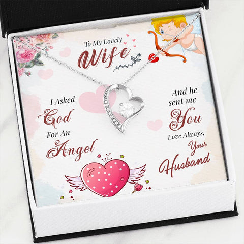 To My Wife I Asked God For An Angel Luxury Forever Love Necklace