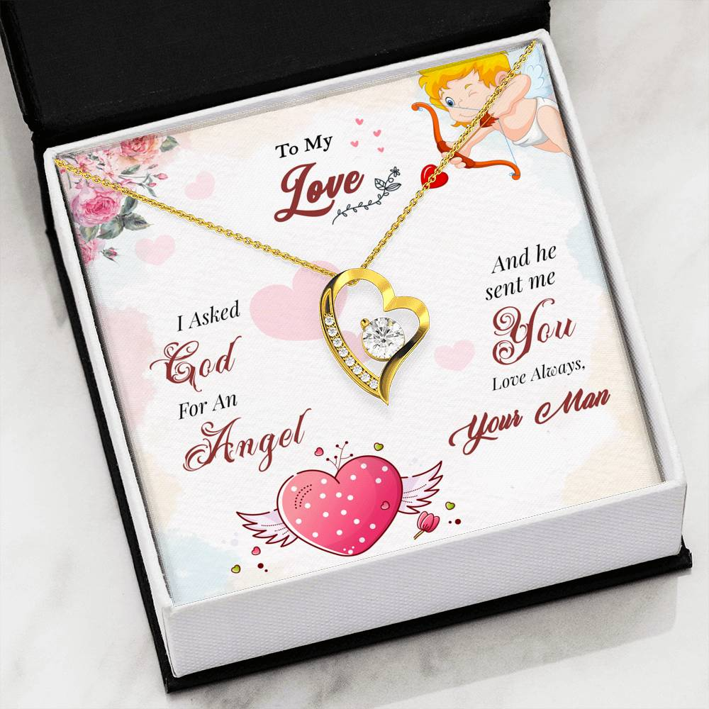To My Love I Asked God For An Angel Luxury Forever Love Necklace