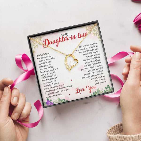 To Daughter-in-law - Love You - Message Card Necklace