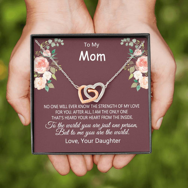 Daughter To Mom - I Heard Your Heart From Inside - Interlocking Heart Necklace